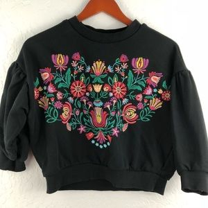 Forever 21 Embroidered Cropped Sweatshirt Top